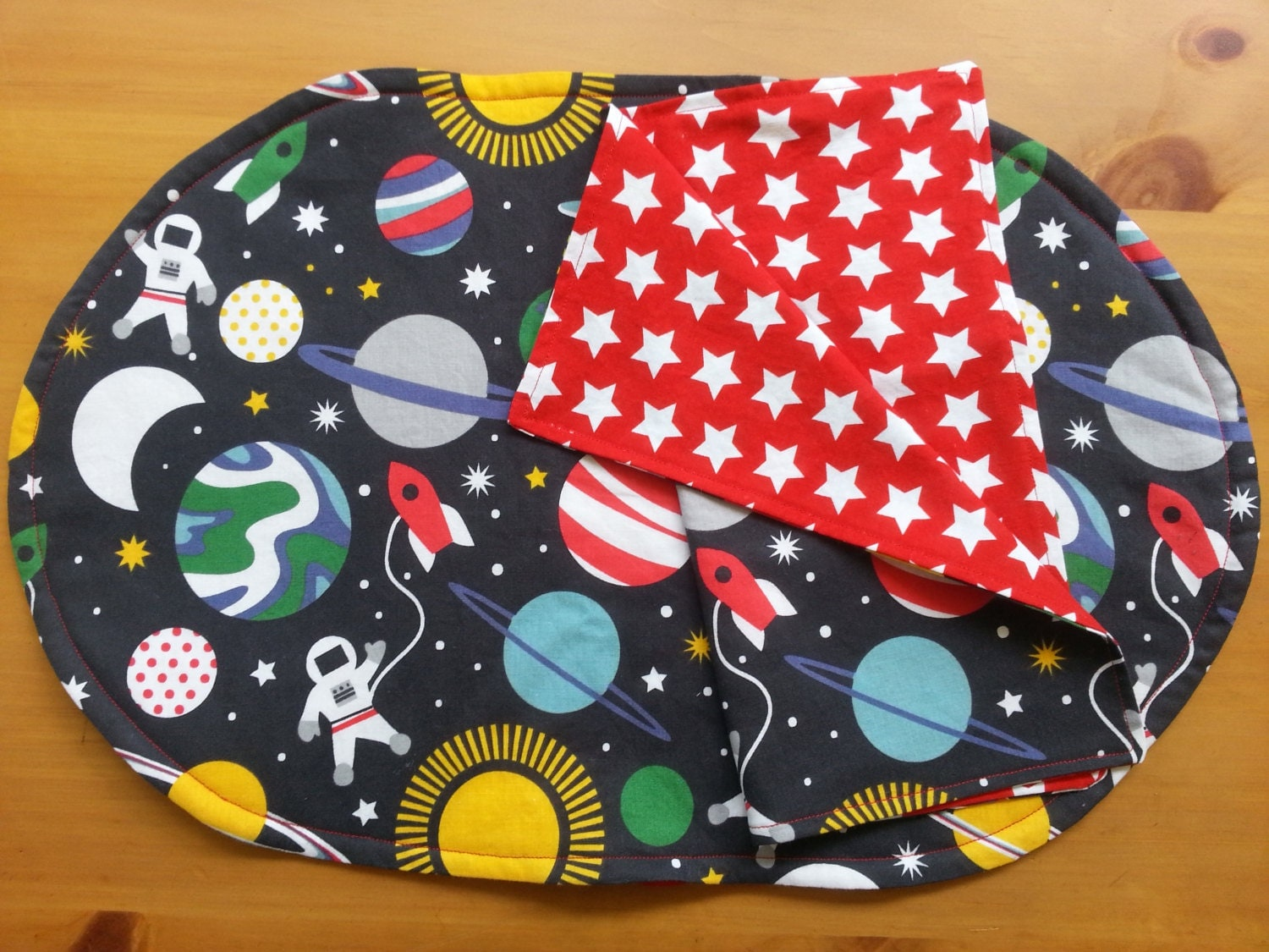 Space placemat and napkin child sized maude asbury fabric for Space themed fleece fabric