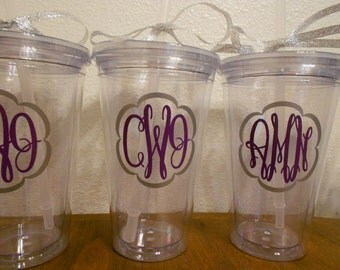 Monogrammed Bridesmaids Gifts - Customized Tumblers - Make your own Set - Purple and Silver - Choose your colors