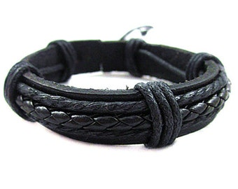 Leather Bracelet, Men's Leather and Hemp Braided Bracelet, Black Leather Bracelet Women's Leather Braclet    BST-127