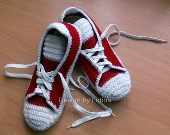 Adult Slippers Crochet, Converse Wool Slippers, House Knits Shoes - 20 colours to choose from - Made to Order
