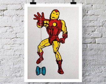 YO-YO Vintage Iron man.  Greetings card/ Art print