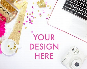 Pink Gold Styled Desktop Stock Photography Glitter / Party Stock Photo / Styled Photography / Website Background / Styled Desktop
