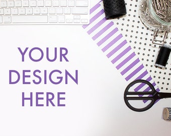 Styled Computer Stock Photography | Keyboard Purple Gray | Office Stock Photo | Styled Stock Photography | Web Graphic Design Background