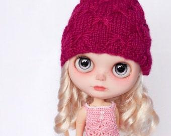 OOAK Custom Hat for Blythe Doll, raspberry or white