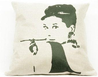 Audrey Hepburn pillow, christmas, present, gift ideas, iconic, anniversary, birthday ideas, bedroom ideas, home decor, icon, throw pillows