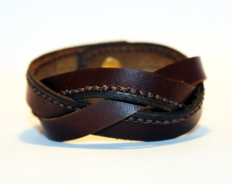 Brown Leather Cuff Bracelet! Nice gift for women! Brown wrist cuff! Bracelet wof women! Bracelet for men.