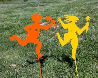 Free Spirited Couple Yard Stakes Hippies Garden Stakes Naked Couple Yard Or Garden Stakes