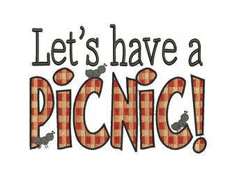 Let's Have a Picnic Filled Machine Embroidery Design Digitized Pattern - 4x4 , 5x7, and 6x10 hoops