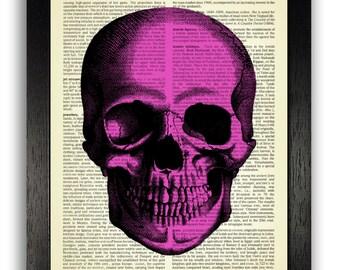 PINK SKULL Art Print, Skull Painting, Retro Skull Wall Art, Skull Drawing Anatomy Halloween Decoration, Vintage Dictionary Page Art