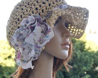 """Handmade  crochet  hat, """"Varadero"""", summer hat made of raffia crochet,flower power, boho"""