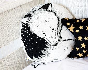 Sleepy Fox Organic Hand Printed Cushion Pillow Round