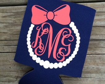 Monogram Pearl Necklace and Bow Can Cooler