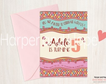 Boho style Multicolor Adele 5th Birthday Invitations - Printables - costumizable - painting party birthday - print at home