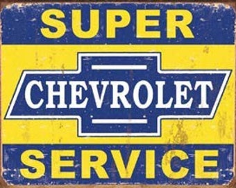 "Super Chevy Service ~ Retro Tin Sign  16""Wx12.5""H"