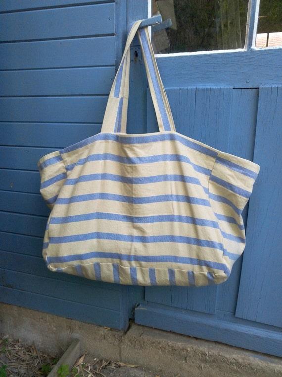 sac de plage xxl en lin naturel ray bleu tr s grand sac de. Black Bedroom Furniture Sets. Home Design Ideas