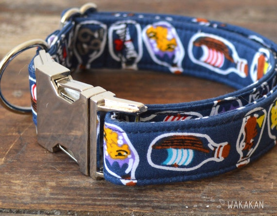 Bottle of Rum dog collar adjustable. Handmade with 100% cotton fabric. Pirate style with bottles. Retro and Nautical. Wakakan