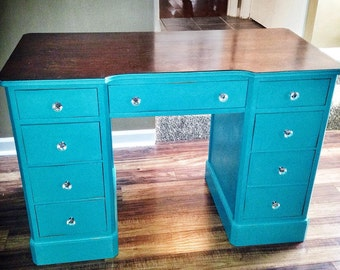 SOLD*Hand painted turquise desk w/stained top