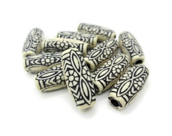 Vintage White and Black Etched Ornate Lucite Oval Tube Beads 26mm, 10pcs