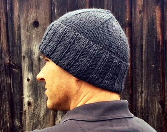 Men's dark seal gray wool hat