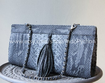 Genuine Python Leather Handbag Exotic SnakeSkin Leather Purse Clutch Bag Blue Gray Grey Sale