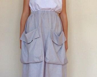 French Linen Stripe Skirt