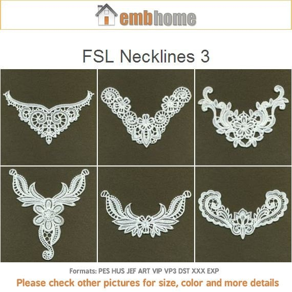 Stand Alone Lace Embroidery Designs : Fsl necklines free standing lace machine embroidery