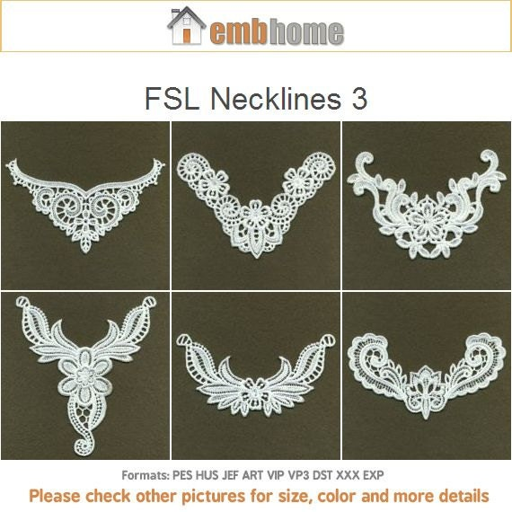 Fsl Necklines 3 Free Standing Lace Machine Embroidery Designs