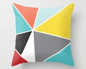 Geometric Pillow Cover - Triangles Pillow - Mid Century Decor - Triangles Throw Pillow - Yellow Blue Coral Black Grey - By Aldari Home