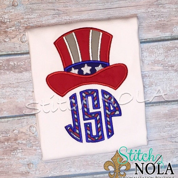 Patriotic Top Hat Monogram Tee, Bodysuit, Bubble, Romper or Gown