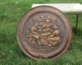 "Large Vintage Red Copper Wall Plate Decorative Breughel Scene handmade 18.5"""