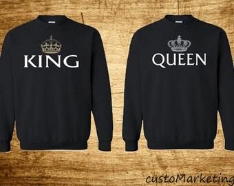 King & Queen - Couple Crewneck - Sweatshirt Super Couple Sweater King Queen
