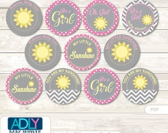 Girl Sunshine Cupcake Toppers for Baby Shower Printable DIY, favor tags, circles, It's a Girl, Pink- oz65bs0