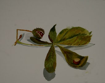 Horse Chestnut leaf, Conkers, Autumn Leaves, Original Watercolour Painting, Green, brown, Leaves, Still Life, 16 x 12 inches, Ready to Frame