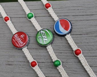 Recycled Bottle Cap Bracelets, Macrame Bracelet, Twine, Cotton String, Bottle Caps, Adjustable