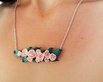 Cherry blossom necklace, bridesmaid necklace, pink flower necklace, statement necklace, minimalist, sakura necklace, valentines gift