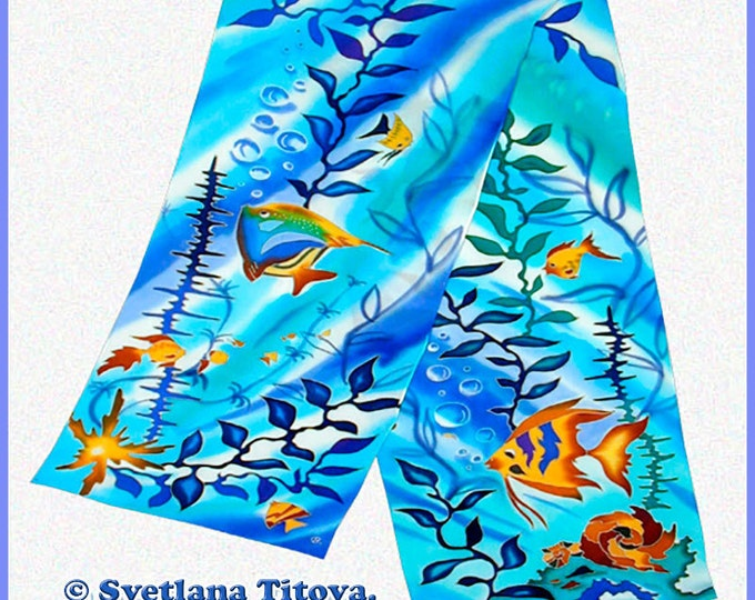 "Hand Painted Silk Scarf ""Tropical Fish""- Long scarf-turquoise silk scarf-blue silk scarf-yellow scarf-Made To Order Scarf"