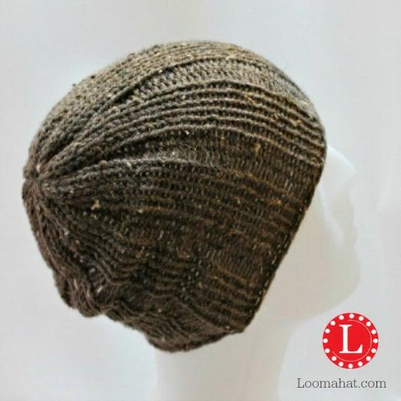 Loom Knit Baby Booties Pattern : Loom Knitting Pattern Hat Mens Womens Slouchy Beanie Skull Cap