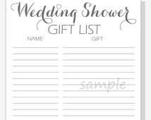 DIY Wedding Shower Gift List Printable - Calligraphy Script with red ...