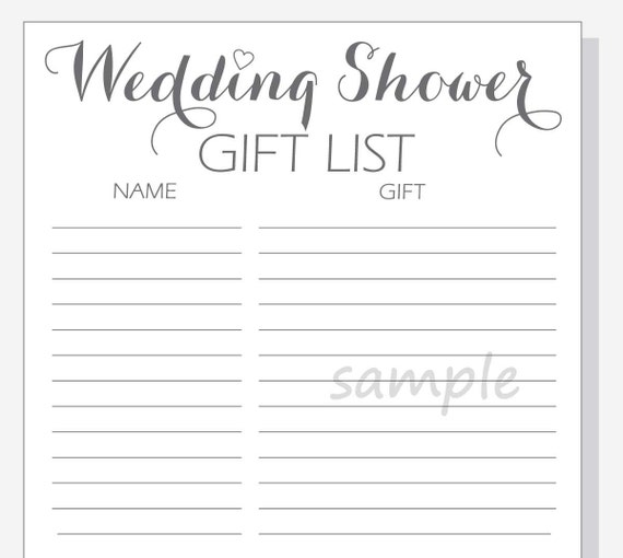 Wedding Gift List Printable : DIY Wedding Shower Gift List Printable - Calligraphy Script with red ...