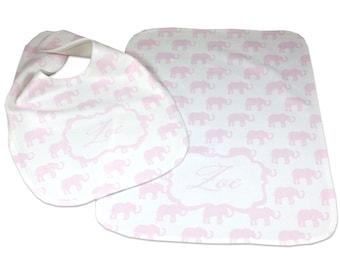 Personalized Baby Bib and Burp Cloth Set Girl Baby Bibs Burp Cloths Personalized Baby Gift Baby Girl Bib