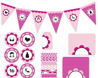 sweet 16 party printable decorations pink