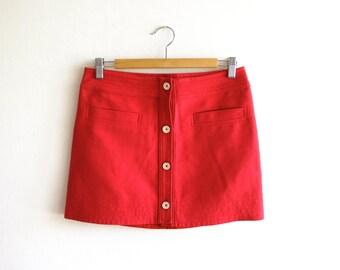 Poppy Red 60's skirt // 36 // Small // Claudie Pierlot // French