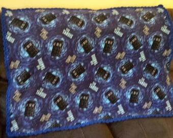 Tardis Fleece Baby Blanket. Dr Who Baby Blanket. Nap blanket.