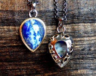 Lapis Necklace, Mens Lapis Necklace, Men's jewelry, Lapis Pendant, Necklace for men, big lapis jewelery, lapis jewelry