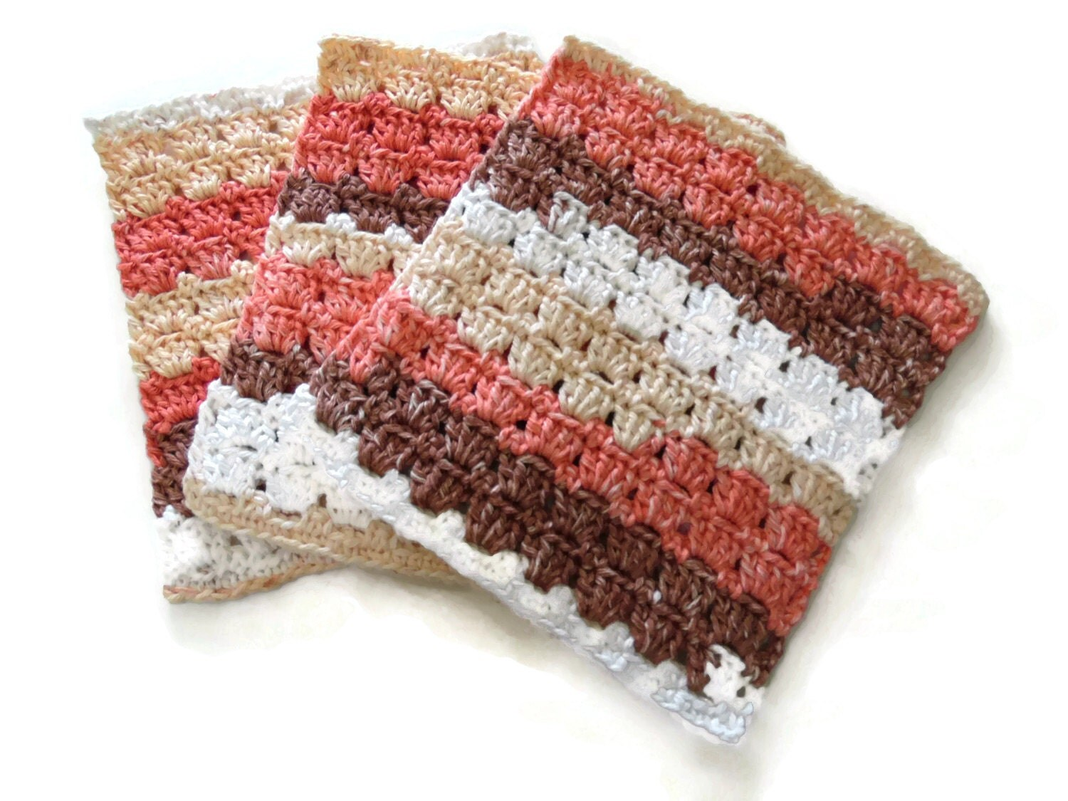 Crocheting Dish Rags : Three Crochet Dish Cloths Dish Rag Wash Cloth Peach by RignalJane