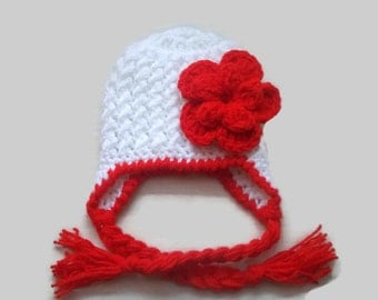 Girl earflap hat,  newborn girl hat, crochet baby hat, winter baby hat , white earflap hat, flower earflap hat, newborn earflap hat