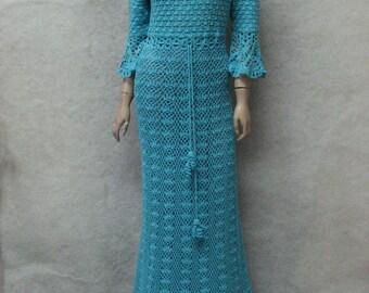 Crochet maxi dress handmade maxi dress Crochet turquoise lacy dress Handmade cotton Dress Crocheted Beachwear,crochet turquoise garment