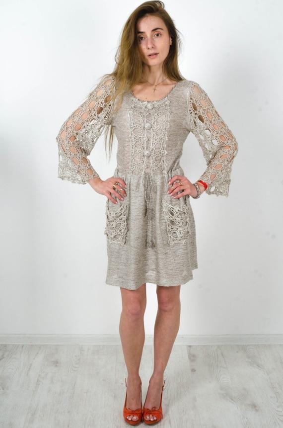 Items similar to Crochet linen dress Knitted Gray dress ...