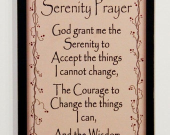 serenity prayer primitive rustic wood sign country home wall decor