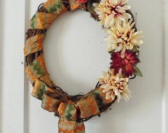 Grapevine Wreath / Fall Door Decor / Floral Wreath / Door Decoration / Door Wreath
